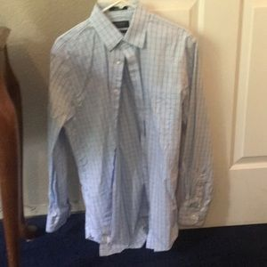 Blue patterned button down shirt